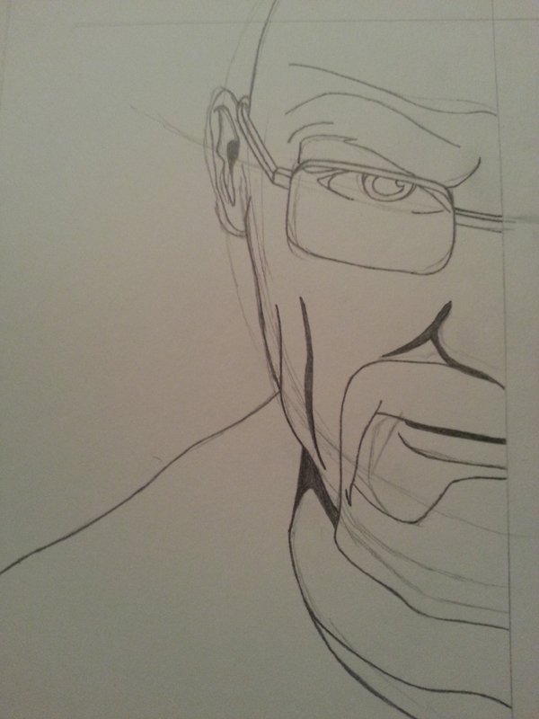 Pencil of Walter White, based on a promo poster for season four.